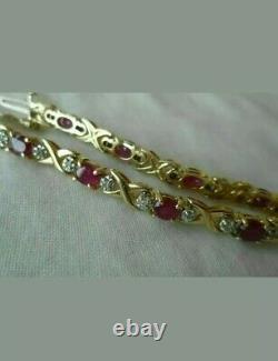 14k Solid Yellow Gold Over 4.25 CT Oval Cut Ruby Diamond Tennis Women's Bracelet