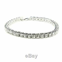 14k White Gold FN Iced Out 8Inch Men's Round Cut 7.00CT Diamond Tennis Bracelet
