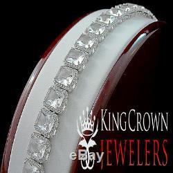 14k White Gold On Sterling Silver Mens Ladies Lab Diamond Crystal Clear Bracelet