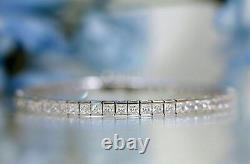 14k White Gold Over 10 Ct Princess Cut Diamond Tennis Bracelet 7 For Women's
