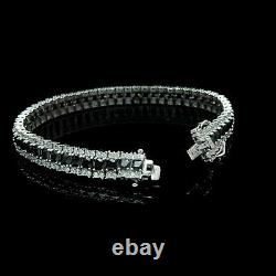 14k White Gold Over 7Ct Princess Cut Black & Round Diamond Tennis Bracelet 7.25