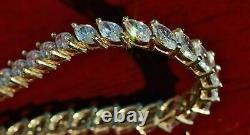 14k Yellow Gold Finish 8.00 CT Marquise-Cut Diamond Link Tennis Bracelet 7.25