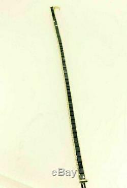 14k Yellow Gold Over 10. Ct Princess Cut Black Diamond Men's Tennis Bracelet 8