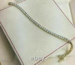 14k Yellow Gold Over 5.72 Ct Round Cut Diamond Women's Tennis Bracelet 7.25