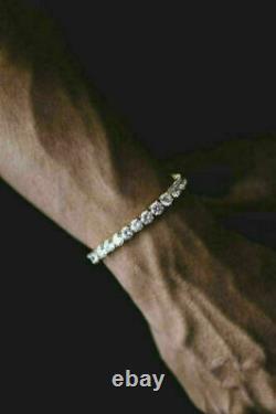 14k Yellow Gold Over 6.50 Ct Round VVS1 Diamond Tennis Men's Bracelet In 7 Inch