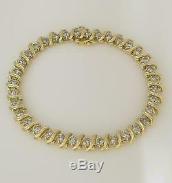 14k Yellow Gold Over 8. Ct Round Diamond S-Link Tennis Women's Bracelet 7.5