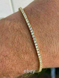 14k Yellow Gold Over 925 Sterling Silver 2mm Tennis Women Bracelet Diamond 7.25