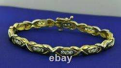 14k Yellow Gold Over Diamond Unique Tennis Bracelet 5.60 CT Hugs N Kisses 7.25