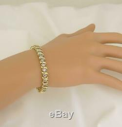 14k Yellow Gold Over Round S-Link Diamond Tennis Women's Bracelet 7.5 Inch 7 Ct