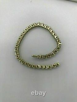 14k Yellow Gold Over S Link Diamond Tennis women's perfect bracelet 7.25 10 ct