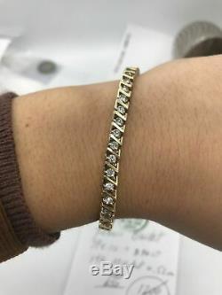 14k yellow gold over S-Link Diamond Tennis women's perfect bracelet 7.75'' 10 ct