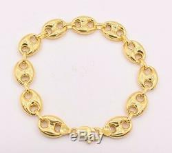 14mm Puffed Gucci Anchor Mariner Link Bracelet 14K Yellow Gold Clad Silver 925