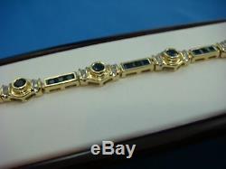 15CT Princess Cut Blue Sapphire & Diamond 14k Yellow Gold Over Tennis Bracelet