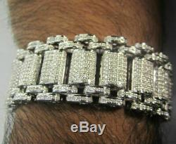 15Ct Brilliant Round Cut D/VVS1 Diamond Men's Bracelet 14K White Gold Over