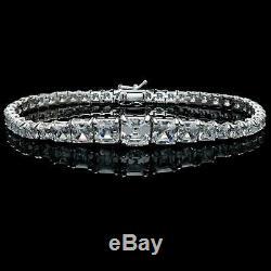 15TCW Asscher Cut Diamond Graduated Tennis Gift Bracelet 14k White Gold Over 7