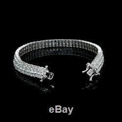 15TCW Princess & Round Created Diamond Tennis Bracelet 3-Row 925 Sterling Silver
