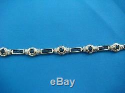 15 CT Princess Cut Blue Sapphire & Diamond Tennis Bracelet 14k Yellow Gold Over
