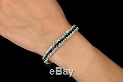 15 TCW Princess Black & Round Diamond Tennis Bracelet in 14k White Gold Over 7