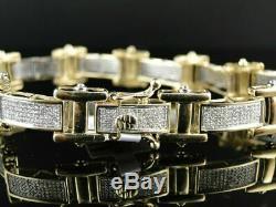 18.00 ct Diamond Bracelet Pave Set Designer Mens 10K Yellow Gold Over 8.25