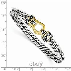 18k Gold Sterling Silver Buckle Design Horse Shoe Double Cable Bangle Bracelet
