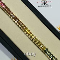 18k Yellow Gold Sterling Silver Emerald Cut Rainbow Sapphire Tennis Bracelet New