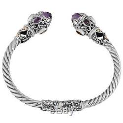 18k Yellow Gold and Sterling Silver Amethyst Multi-gemstone Cawi Cuff Bracelet