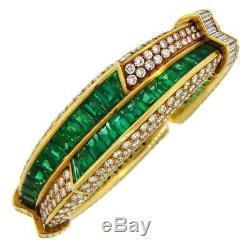 1990s Harry Winston Emerald & Diamond 18k Yellow Gold Over Bangle 7.5 Bracelet