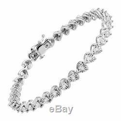 1/2 ct Diamond Heart Tennis Bracelet in Sterling Silver, 7