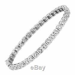 1/5 ct Diamond Square Tennis Bracelet in Sterling Silver, 7.5
