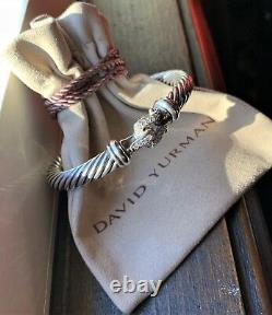 $1,650 David Yurman Sterling Silver 925 & Diamond 7mm Cable Buckle Cuff Bracelet