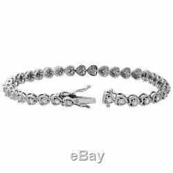 1 Row Heart Shape Round Diamond Tennis Bracelet Bezel 925 Sterling Silver 7.25