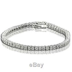 1 Row Women's Tennis Bracelet with Natural Round Diamonds White Gold Finish
