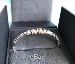 $2150 DAVID YURMAN Helena Cuff Bracelet Sterling Silver 18K Yellow Gold Diamond