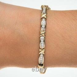 2.00CT Round Diamond X link tennis bracelet In 14K White & Yellow Gold Over