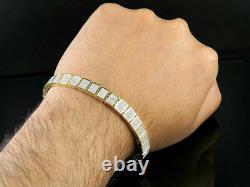 2.24 Ct. 10K Yellow Gold Over Diamond Iced Square Link Men's Bracelet 8.5
