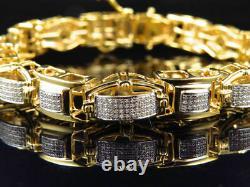 2.40 Ct Men's Pave Set White Diamond Custom Bracelet In 14k Yellow Gold Finish