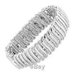 2 ct Diamond'S' Link Tennis Bracelet in Sterling Silver-Plated Brass