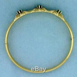 2ct Tw Colombian Emerald and Diamond Bangle 7.5Bracelet in 14k Yellow Gold Over