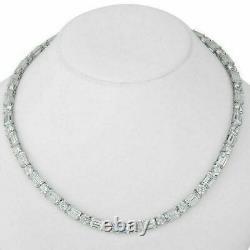 32.00Ct VVS1/D Emerald&Round Cut Diamond Tennis Necklace 16 14K White Gold Over