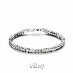 3.25Ct Diamond Tennis Bracelet 7.50'' One Row Round Diamonds 14K White Gold over