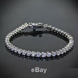 3 Prong 5.00 Ct Diamond Tennis Bracelet 7 Round Diamonds 14K White Gold Over