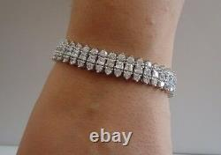 3 ROW TENNIS BRACELET With 15 CT LAB DIAMONDS / 925 STERLING SILVER / 7.25'' LONG