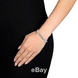 3 Row 7.00 Carat Round VVS1 Diamond Tennis Bracelet 14k White Gold Over 7.25