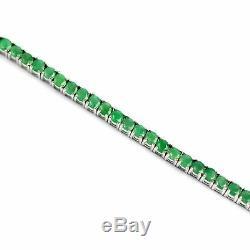 3 mm Round Gemstone Green Emerald Tennis Bracelet In 14k White Gold Over 7.25