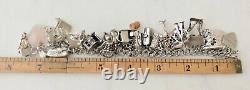 40 Vintage Sterling Silver Charm Bracelet Mid-Century Theme Mechanical