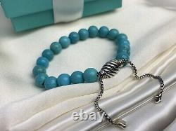 $425 David Yurman Sterling Silver 925 Turquoise Spiritual Beads Bracelet 8mm
