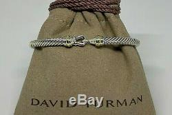 $475 David Yurman 925 Sterling Silver 4mm Cable Buckle Bracelet with 18K Gold