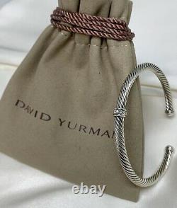 $475 David Yurman Center Station Cable Classic 4mm Cuff Bracelet with Diamonds