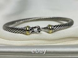 $475 David Yurman Sterling Silver 925 4mm Cable Buckle Bracelet with 18K Gold M