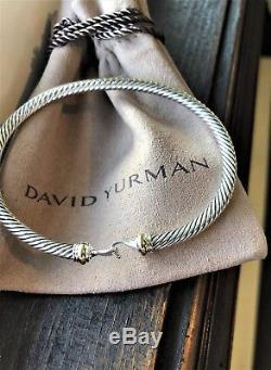 $495 David Yurman 925 Sterling Silver 5mm Cable Buckle Bracelet with 18K Gold